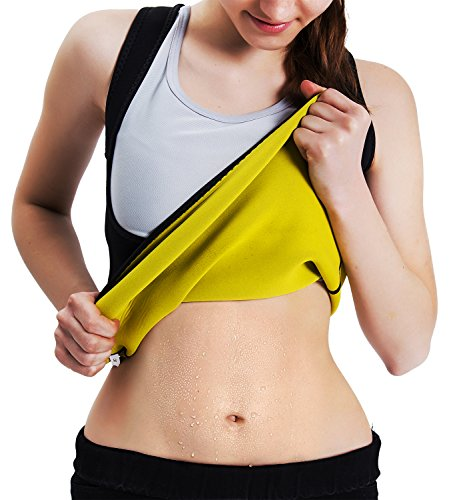 Roseate Women's Body Shaper Hot Sweat Workout Tank Top Slimming Vest Tummy Fat Burner Weight Loss Shapewear No Zipper, Black, 2XL