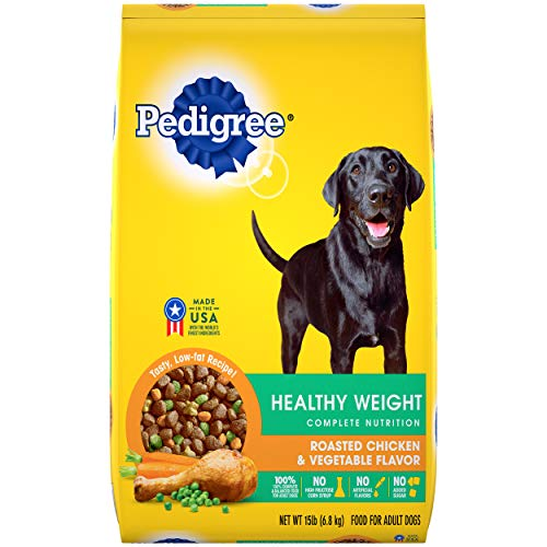 PEDIGREE Healthy Weight Adult Dry Dog Food Roasted Chicken & Vegetable Flavor Dog Kibble, 15 lb. Bag