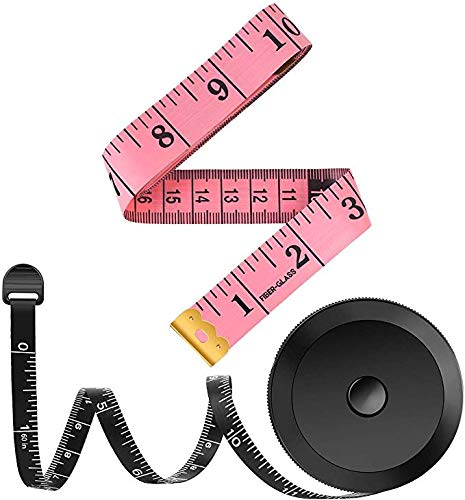 2 Pack Tape Measure Measuring Tape for Body Fabric Sewing Tailor Cloth Knitting Home Craft Measurements, 60-Inch Soft Fashion Pink & Retractable Black Tape Measure Body Measuring Tape Set, Dual Sided