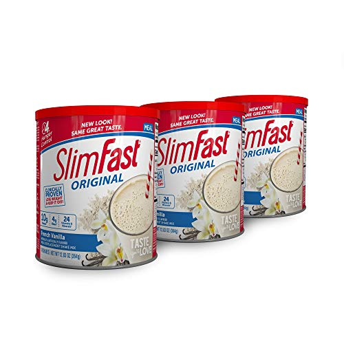 SlimFast Original French Vanilla Meal Replacement Shake Mix – Weight Loss Powder – 12.83 Oz Canister, Pack Of 3