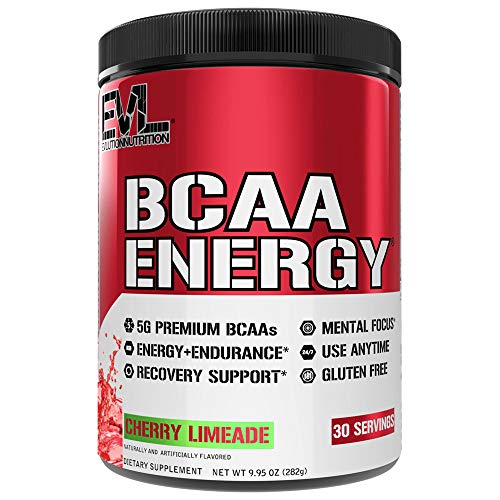 Evlution Nutrition BCAA Energy - Essential BCAA Amino Acids & Energizers for Anytime Energy, Performance, Immune Support, Muscle Building, Recovery, Vitamin C & B, Pre Workout, 30 Serv, Cherry Limeade