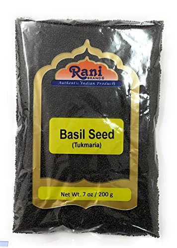 Rani Tukmaria (Natural Holy Basil Seeds) 7oz (200g) Used for Falooda / Sabja Dessert, Spice & Ayurveda Herbal ~ Gluten Free Ingredients | NON-GMO | Vegan | Indian Origin