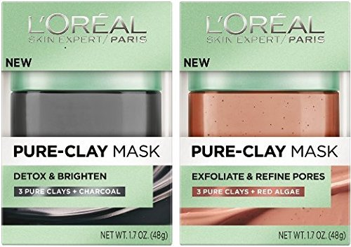 L'Oreal Pure-Clay Mask Bundle: (1) Detox & Brighten Pure-Clay Mask 1.7 Oz. & (1) Exfoliate & Red Algae Pure-Clay Mask 1.7 Oz.