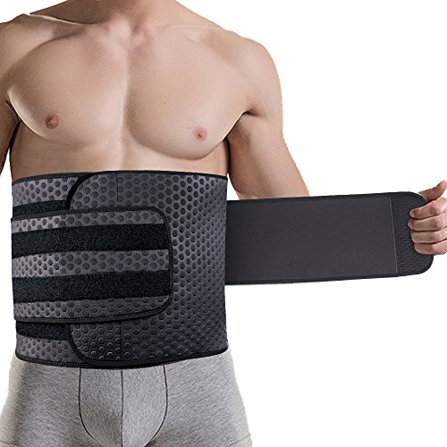 ZOHUMI Wasit Trimmer for Men, Neoprene Ab Belt Widening Waist Trainer with Double Adjusted Straps for Fitness Weight Loss and Back Support (L 34-38 inch)