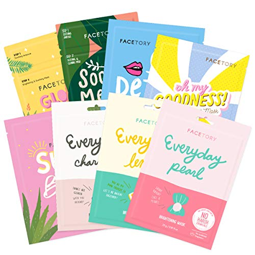 FaceTory Oily Skin Type Sheet Mask Collection - Purifying, Brightening, and Soothing (Pack of 8)