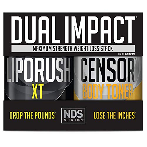 NDS Nutrition Maximum Strength Dual Impact Stack - Complete 2-in-1 Fat Loss Stack Enhanced with Teacrine, L-Carnitine, CLA for Serious Results - Censor 90 Softgels & LipoRush XT 60 Capsules
