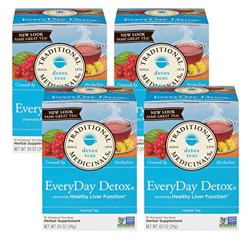 Traditional Medicinals Everyday Detox Herbal Wrapped Tea Bags - 16 ct (Pack - 4)