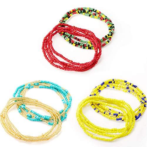 6 Pieces Summer Waist Bead Chains Colorful Waist Belly Beads African Body Chains Bikini Jewelry for Women and Girls