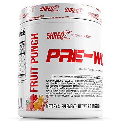 SHREDZ Pre-Workout Supplement Designed for Men Increases Energy and Boosts Performance - Fruit Punch 9.6oz