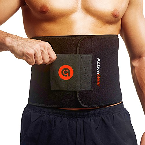 ActiveGear Waist Trimmer Belt for Stomach and Back Lumbar Support, Medium: 8' x 42' - Red