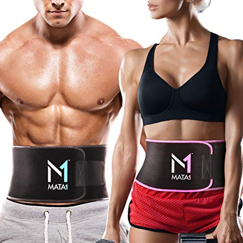 Mata1 Waist Trimmer Belt (Medium, Black) with a Free Bag Included, Thin Body Sweat Wrap, Weight Loss Enhancing Belt for Men and for Women, Excellent Back Support Promoting Posture Improvement