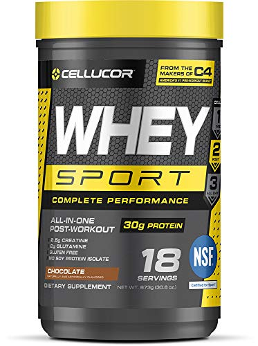 Cellucor Whey Sport Protein Powder, Post Workout Recovery Drink with Whey Protein Isolate, Creatine & Glutamine, Chocolate, 18 Servings