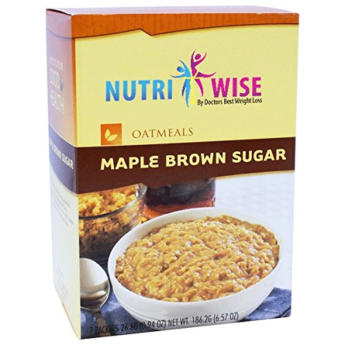 NutriWise - Maple Brown Oatmeal   Healthy Nutritious Diet   High Protein, Low Carb, Low Calorie, Sugar Free, Fat Free (7/Box)