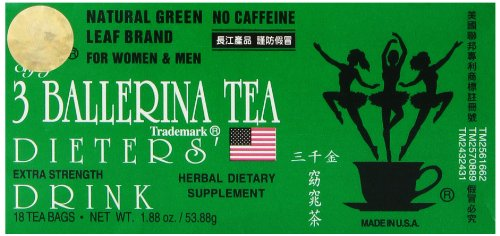 3 Ballerina Tea Dieters Drink, Extra Strength, 18-Count Tea Bags