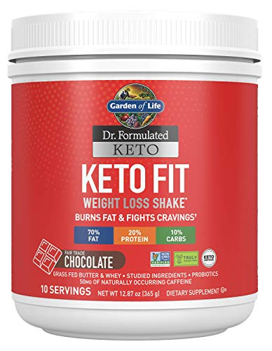 Garden of Life Dr. Formulated Keto Fit Weight Loss Shake - Chocolate Powder, 10 Servings, Truly Grass Fed Butter & Whey Protein, Studied Ingredients plus Probiotics, Non-GMO, Gluten Free, Keto Paleo