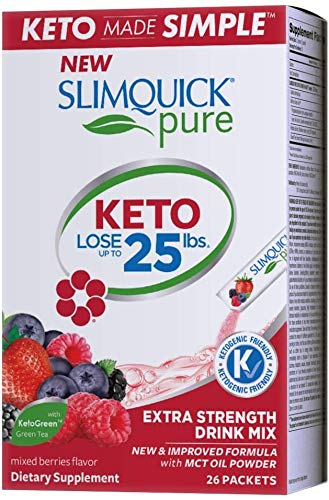 SlimQuick Pure Drink Mix - Mixed Berries - Powerful Weight Loss - for Women - 26 Packets