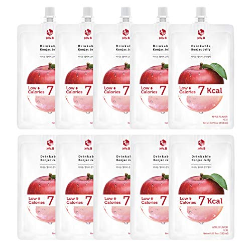 Jelly.B Drinkable Konjac Jelly (10 Packs of 150ml) - Healthy and Natural Weight Loss Diet Supplement Foods, 0 Gram Sugar, Low Calorie, Only 6 kcal Each Packets, (Apple)