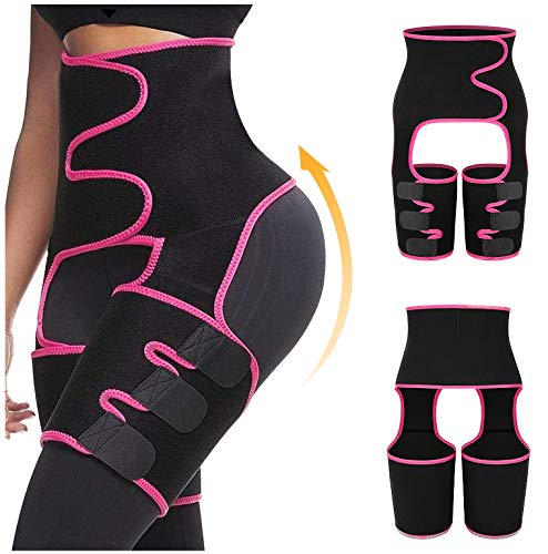 keland 3-in-1High Waist Trainer Thigh Trimmers Belt Butt Lifter Booty Hips Enhancer Siamese Girdle Body Shaper for Women Weight Loss (Rose, L/XL)