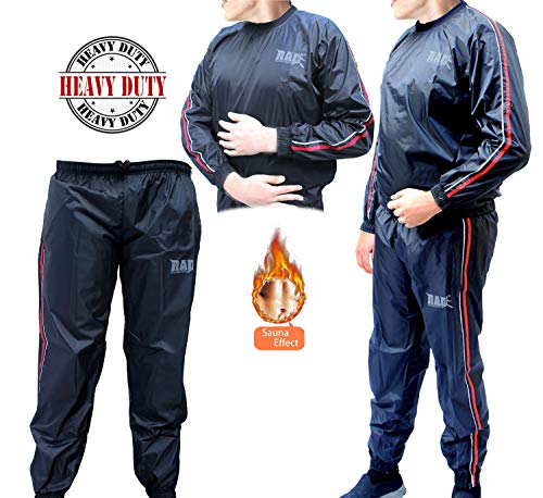 RAD Heavy Duty Sweat Suit Sauna Exercise Gym Suit Fitness, Weight Loss, AntiRip (Red, Medium)