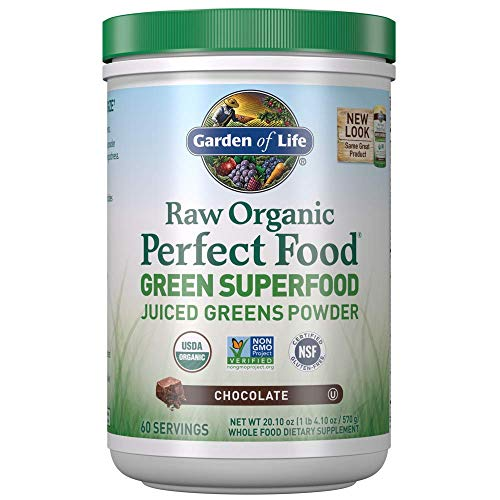 Garden of Life Raw Organic Perfect Food Green Superfood Juiced Greens Powder - Chocolate, 60 Servings (Packaging May Vary)