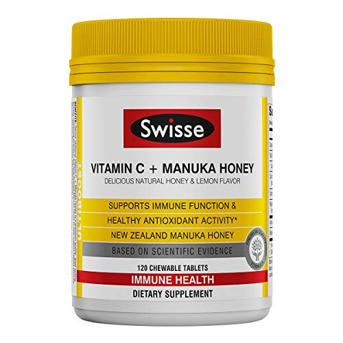 Swisse Ultiboost Vitamin C with Manuka Honey   Immunity Support, Rich in Antioxidants   120 Chewable Tablets