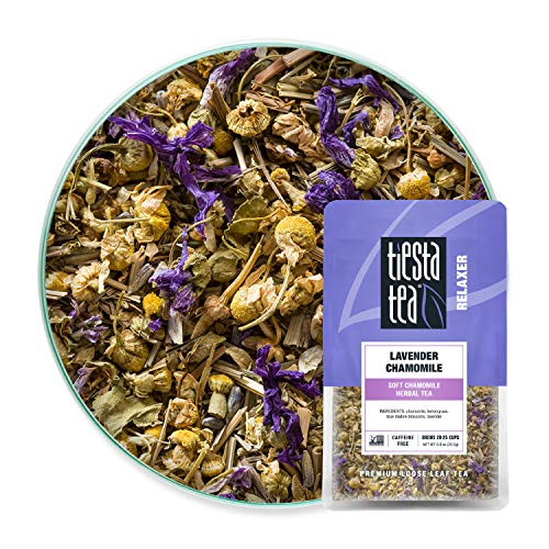 Tiesta Tea, Lavender Chamomile, Loose Leaf Soft Chamomile Herbal Tea, Non-Caffeinated, 0.9oz Resealable Pouch - 20-25 Cups, Lavender Herbal Tea