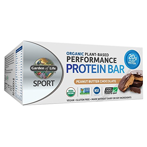 Garden of Life Sport Organic Plant Based Performance Protein Bars - Peanut Butter Chocolate, 12 Count, 20g Pure Protein per Bar, Vegan, Low Carb, Organic, Gluten Free, Certified Clean for Sport