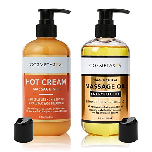 Anti-Cellulite Massage Oil & Hot Cream - 100% Natural Cellulite Treatment with Gel & Oil, Deeply Penetrates Skin to Break Down Fat Tissue - Firm, Tone, Tighten & Moisturize Skin - Muscle Pain Relief