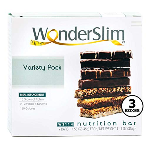 WonderSlim Meal Replacement Protein Bar - Low Carb Nutrition Bar for Women & Men - Variety Pack - High Fiber, KETO Friendly, Weight Loss Diet Snack Bar (7ct) 3 Box Value-Pack (Save 10%)