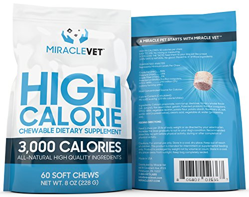 Miracle Vet Dog Weight Gaining Chews. 3,000 Calories per Bag. High Calorie Dog Treats for Weight gain & Health.