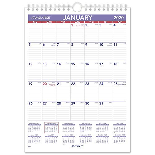 AT-A-GLANCE 2020 Monthly Wall Calendar, 8' x 11', Small, Wirebound (PM128), Model:PM12820