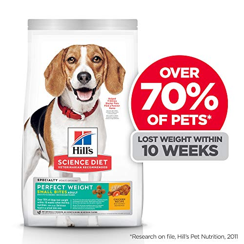 Hill's Science Diet Dry Dog Food, Adult, Small Bites, Perfect Weight for Weight Management, Chicken Recipe, White, 15 lb. Bag (605048)