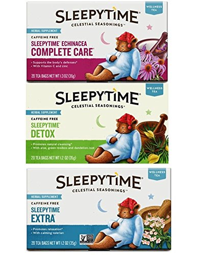 Celestial Seasonings Wellness Caffeine Free Herbal Tea 3 Flavor Variety Bundle, 1 Each: Sleepytime Extra, Sleepytime Echinacea Complete Care, Sleepytime Detox (20 Count Ea.)