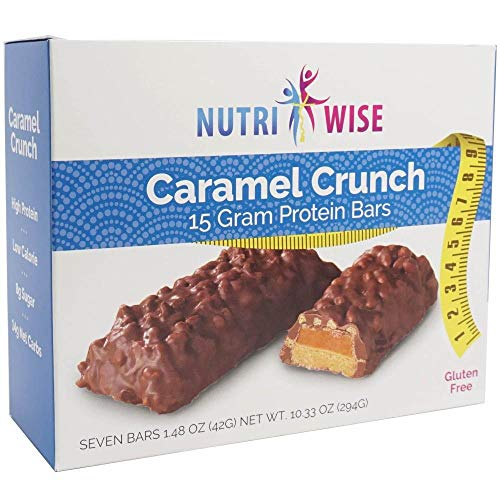 NutriWise - Caramel Crunch | Diet Protein Bars | High Protein, Gluten Free, Low Cholesterol, Trans Fat Free, High Iron (7/Box)