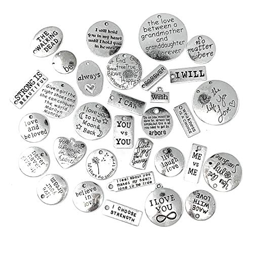 Inspiration Words Charms, JIALEEY Wholesale Bulk Lots Motivational Message Charm Pendants for Crafting, Jewelry Findings Making Accessory for DIY Necklace Bracelet, 31PCS