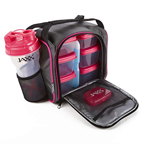 Fit and Fresh Original Jaxx FitPak Insulated Cooler Lunch Box, Meal Prep Bag with Portion Control Containers, Ice Pack, 28 oz Shaker, Standard, Pink