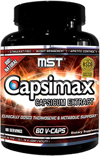 Capsimax Supplement 100mg V Capules, 60 Servings by MST - Clinically Dosed Weight Management, Thermogenic, Appetite Control, Calorie Burning, Metabolic Health, Stimulant Free. BSCG Certified