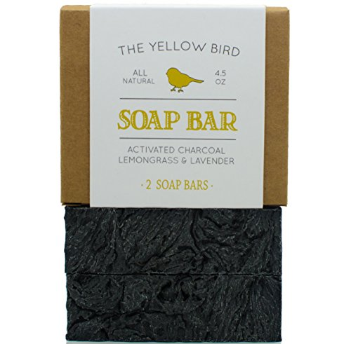 Charcoal Soap (2 Bar Pack) Natural Body & Face Detox Cleansing Soap for Men & Women. Vegan, Organic, Non GMO Ingredients. Facial Cleanser Black Soap for Oily Skin. Made in USA