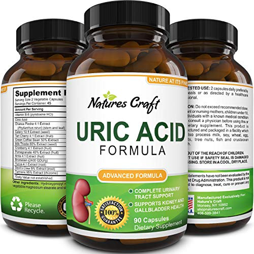 Natures Craft Uric Acid Formula - Uric Acid Detox Cleanse Pure Green Coffee Bean Chanca Piedra Vitamin B-6 Gallbladder Kidney Health Support Supplement 90 Veggie Capsules