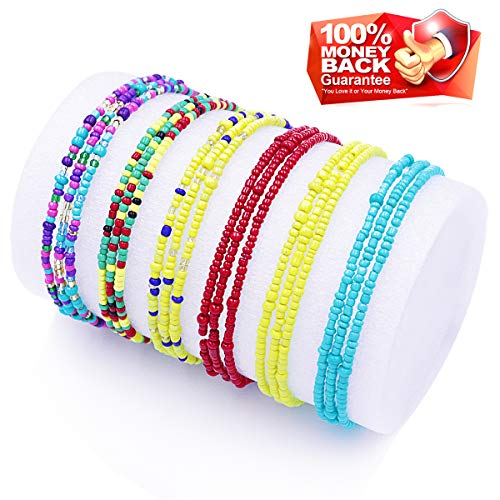 Waist Beads for Women Body Chains African Waist Beads Jewelry Belly Chains Bikini Chain Jewelry Stretchy Elastic String Multi-Color Necklace Bracelet Anklet (Style 1)