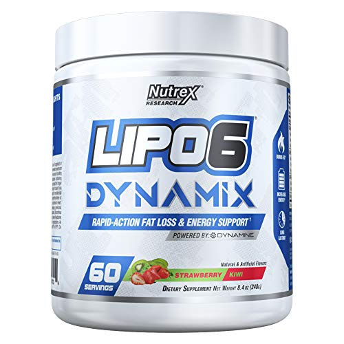 Nutrex Research Lipo 6 Dynamix | Rapid Action Fat Loss & Energy Support, Dynamine, Choline, Huperzine, Theanine, Caffeine Citrate | Strawberry Kiwi | 60 Servings