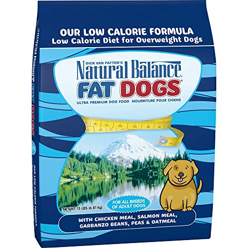 Natural Balance Fat Dogs Low Calorie Dry Dog Food, Chicken Meal, Salmon Meal, Garbanzo Beans, Peas & Oatmeal, 15 Pounds