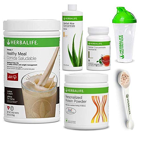 Herbalife Shake Healthy Meal Kit | Cookies and Cream Formula 1 + Herbal Aloe (Mango) + Herbal Tea Concentrate + Protein Powder + Shaker Cup & Spoon