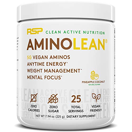 RSP Vegan AminoLean - All Natural Preworkout with Vegan BCAAs, All-In-One Amino Energy, Weight Management, Recovery, and Focus, 25 Serv, Pineapple Coconut