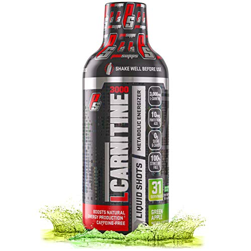 ProSupps L-Carnitine 3000 Liquid Fat Burner, Stimulant Free Metabolic Enhancer, (31 Servings, Green Apple)