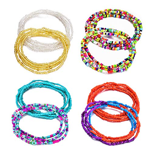 KOHOTA 4-12Pcs Beads Waist Set for Women African Beaded Body Chain Waist Belly Chain Stretchy Elastic String Multi-Color Necklace Bracelet Anklet Sexy Bikini Summer Jewelry