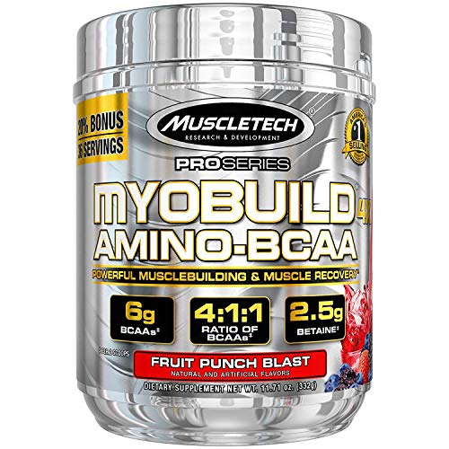 MuscleTech Myobuild BCAA Amino Acids Supplement, Muscle Building and Recovery Formula with Betaine & Electrolytes, Fruit Punch Blast, 36 Servings (332g)
