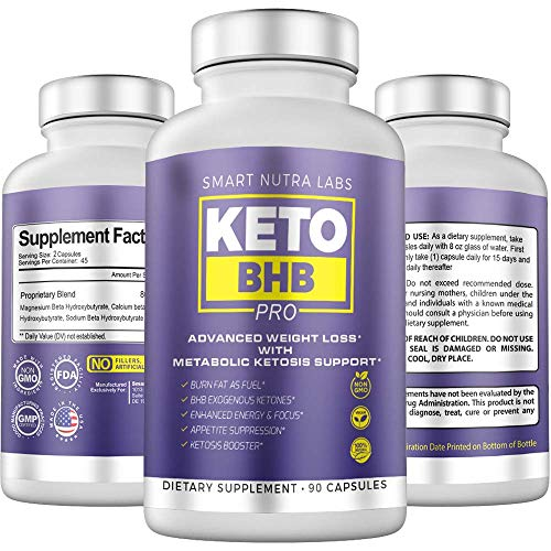 Keto BHB Pro Advanced Weight Loss- Premium Keto Diet Pills for Rapid Ketosis- Supports Burning Fat for Energy, Focus, Craving Management & MetabolismBoost- 90 Vegan Capsules