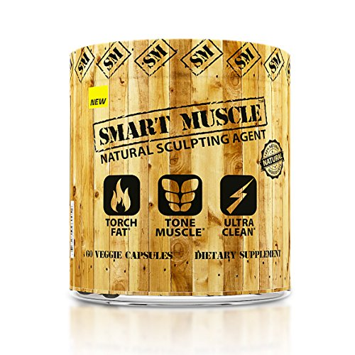 Smart Muscle - Natural Sculpting Agent - Ultra Clean 2-in-1 Fat Burning + Muscle Toning Formula -100% Natural Non-GMO Ingredients - 60 Veggie Capsules