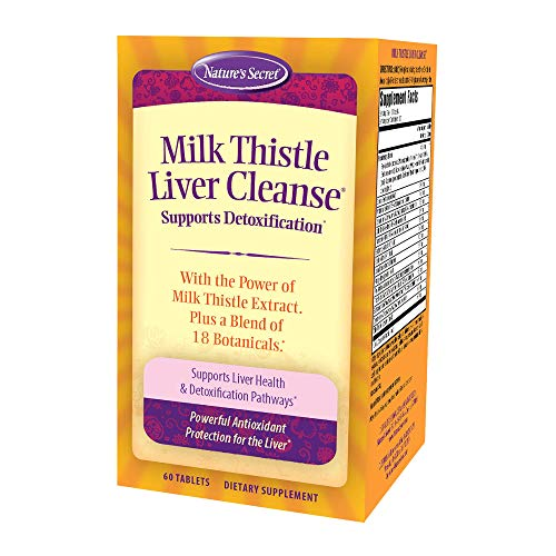 Nature's Secret Milk Thistle Liver Cleanse Supports Healthy Liver Function & Detoxification - 18 Botanical Blend Turmeric, Dandelion, Beet, Artichoke & More - Natural Powerful Antioxidant - 60 Tablets